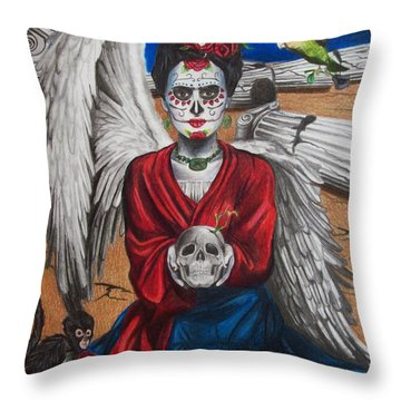 Frida Kahlo Throw Pillow by Amber Stanford