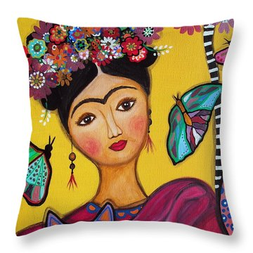 Frida Kahlo And Her Cat Throw Pillow by Pristine Cartera Turkus