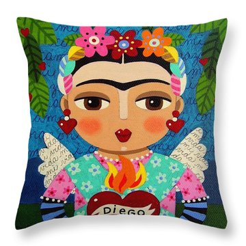 Frida Kahlo Angel And Flaming Heart Throw Pillow