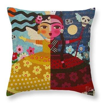 Frida Kahlo Angel Devil Queen Throw Pillow