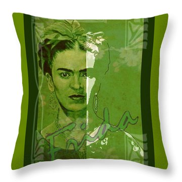 Frida Kahlo - Between Worlds - Green Throw Pillow by Richard Tito