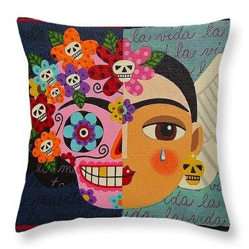 Frida Kahlo Sugar Skull Angel Throw Pillow