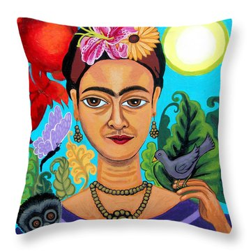 Frida Kahlo With Monkey And Bird Throw Pillow by Genevieve Esson
