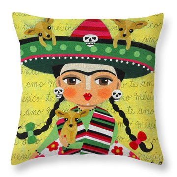 Frida Kahlo With Sombrero And Chihuahuas Throw Pillow