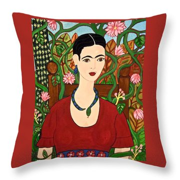 Frida With Vines Throw Pillow