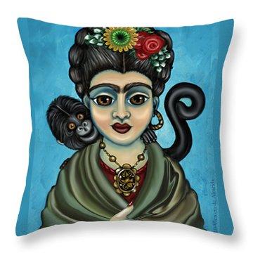 Frida's Monkey Throw Pillow by Victoria De Almeida