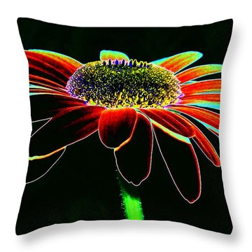 Friday Night Daisy Throw Pillow by Jacqueline McReynolds