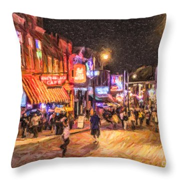 Friday Night On Beale Throw Pillow