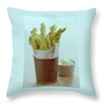 Fried Asparagus Throw Pillow by Romulo Yanes