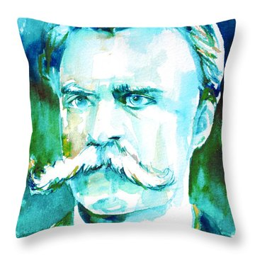 Friedrich Nietzsche Watercolor Portrait.1 Throw Pillow