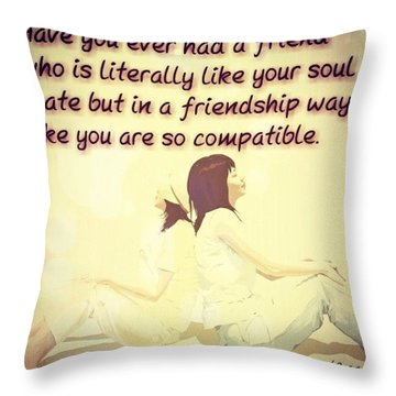 Soulmates In Friendship Throw Pillow