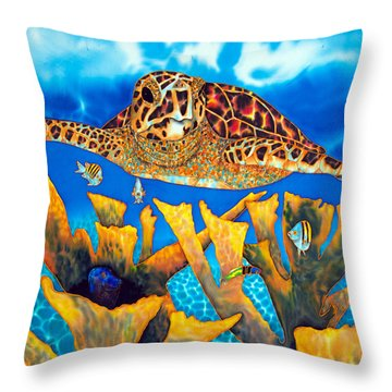 Friendly Hawksbill Sea Turtle Throw Pillow
