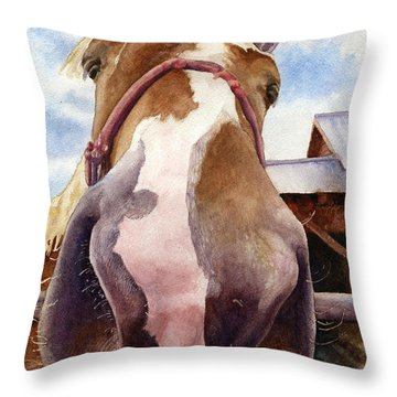 Friendly Horse Throw Pillow by Anne Gifford