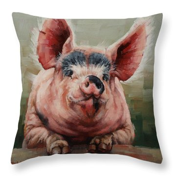 Friendly Pig Throw Pillow