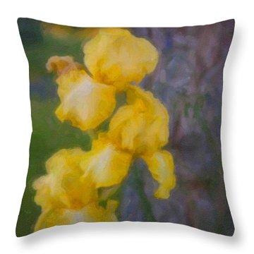 Friendly Yellow Irises Throw Pillow by Omaste Witkowski