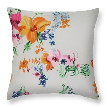 Friends Are Like Flowers Throw Pillow by PainterArtist FIN