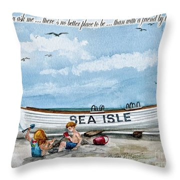 Friends By The Sea  Throw Pillow by Nancy Patterson