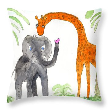 Friends - Elephoot And Elliot Throw Pillow by Helen Holden-Gladsky