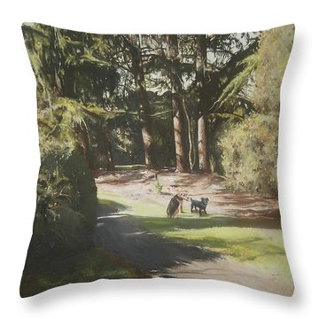 Friends Fur Ever Throw Pillow by Cherise Foster