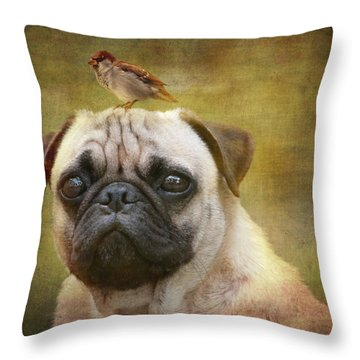 Friends Like Pug And Bird Throw Pillow by Barbara Orenya