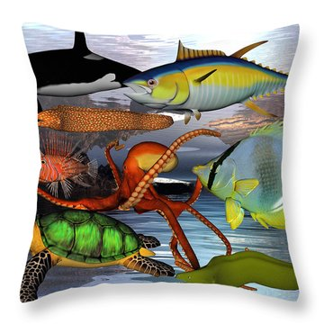Friends Of The Sea Throw Pillow by Betsy Knapp