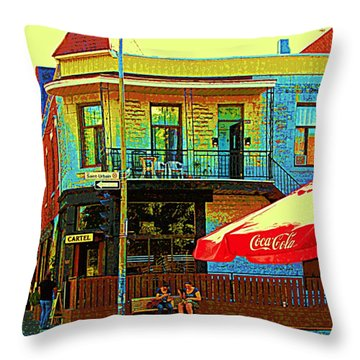 Friends On The Bench At Cartel Street Food Mexican Restaurant Rue Clark Art Of Montreal City Scene Throw Pillow by Carole Spandau