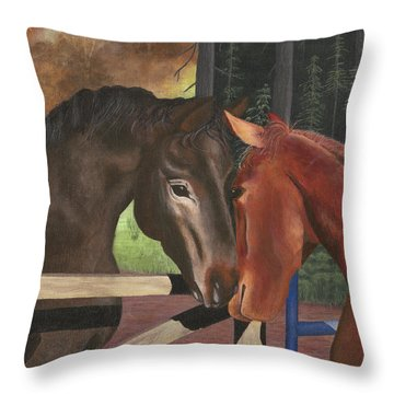 Friends Throw Pillow by Sandy Jasper