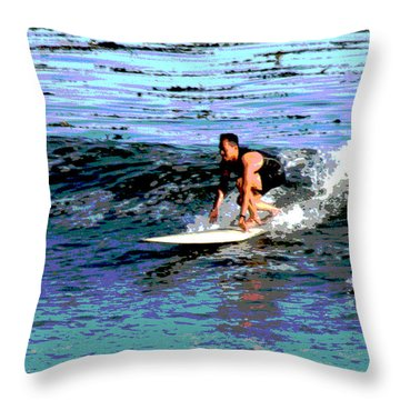 Friends Sharing A Wave Throw Pillow