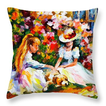 Friends With A Dog Throw Pillow by Leonid Afremov