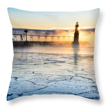 Frigid Sunrise Fog  Throw Pillow