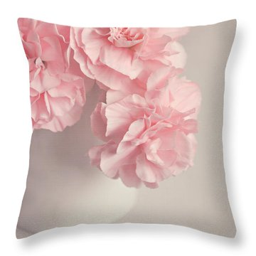 Frilly Pink Carnations Throw Pillow