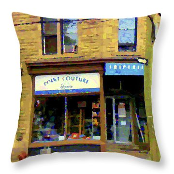 Friperie Point Couture Psc Rue Charlevoix South West Montreal Street Scene Art Carole Spandau Throw Pillow by Carole Spandau