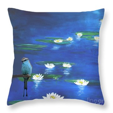 Frog And The Bluebird Throw Pillow