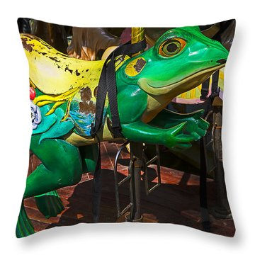Frog Carrousel Ride Throw Pillow by Garry Gay