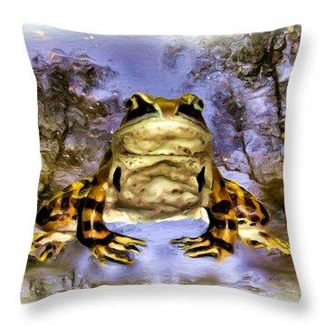 Throw Pillow featuring the digital art Frog by Daniel Janda