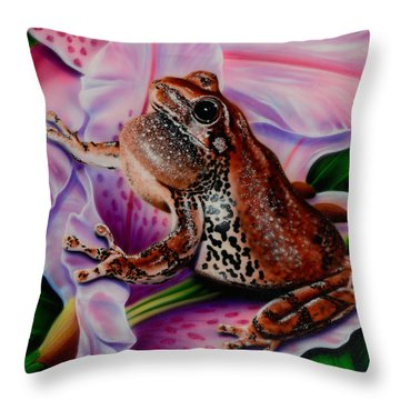 Frog Flower Throw Pillow