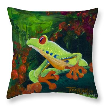Frog Heaven Throw Pillow by Tracy L Teeter