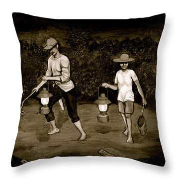 Frog Hunters Black And White Photograph Version Throw Pillow