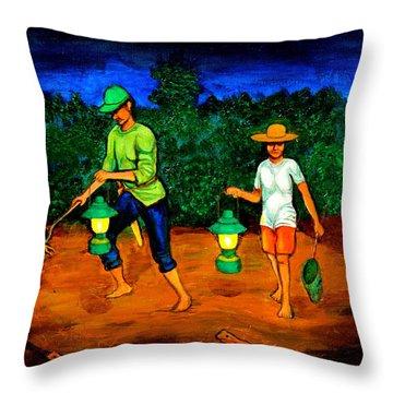 Frog Hunters Throw Pillow