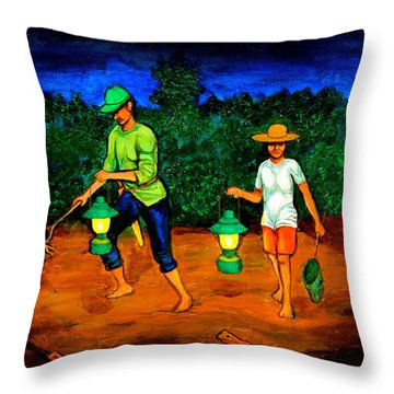 Frog Hunters Throw Pillow by Cyril Maza