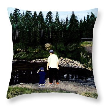 Frog Hunting With Poppy Throw Pillow by Barbara Griffin