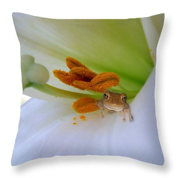 Frog In The Lily Throw Pillow