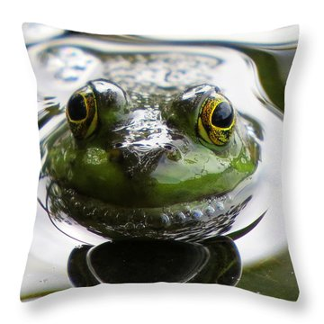 Frog Kiss Throw Pillow by Dianne Cowen