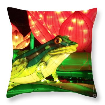 Frog Lantern Throw Pillow