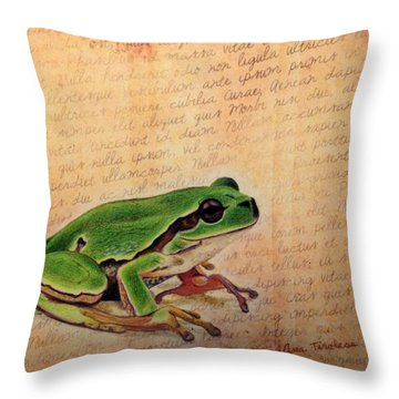 Frog On Paper Throw Pillow by Ana Tirolese