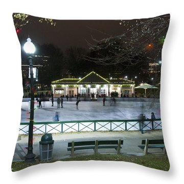 Frog Pond Ice Skating Rink In Boston Commons Throw Pillow