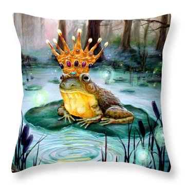 Frog Prince Throw Pillow by Heather Calderon