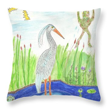 Froggy Fishing Throw Pillow by Helen Holden-Gladsky