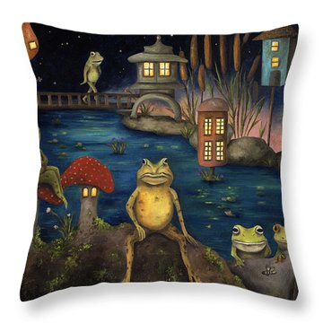 Frogland Throw Pillow