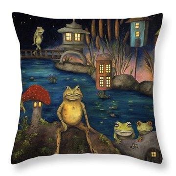 Frogland Throw Pillow